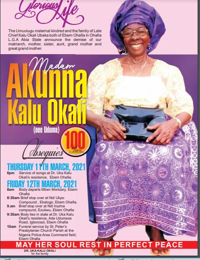 100-Year-Old Madam Akunna Okali Set For Burial On Friday